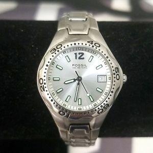 FOSSIL BLUE am-3573 Ladies Silver Watch